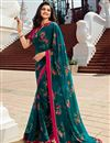 image of Prachi Desai Casual Wear Teal Color Trendy Floral Printed Saree In Georgette Fabric