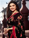 photo of Prachi Desai Georgette Fabric Casual Wear Trendy Floral Printed Saree In Black Color
