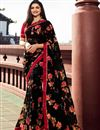 image of Prachi Desai Georgette Fabric Casual Wear Trendy Floral Printed Saree In Black Color