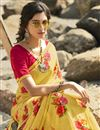 photo of Regular Wear Classic Yellow Color Printed Saree In Georgette Fabric