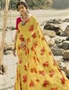 image of Regular Wear Classic Yellow Color Printed Saree In Georgette Fabric