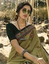 photo of Regular Wear Mehendi Green Color Classic Printed Saree In Georgette Fabric