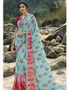 image of Regular Wear Georgette Fabric Classic Cyan Color Printed Saree