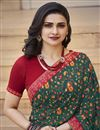 photo of Prachi Desai Casual Wear Green Color Fancy Georgette Fabric Printed Saree