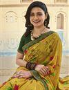 photo of Prachi Desai Office Wear Georgette Fabric Fancy Printed Saree In Mustard Color