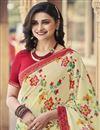 photo of Prachi Desai Beige Color Regular Wear Georgette Fabric Fancy Printed Saree
