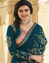 photo of Prachi Desai Teal Color Function Wear Art Silk Fabric Fancy Embroidered Saree