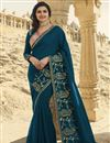 image of Prachi Desai Teal Color Function Wear Art Silk Fabric Fancy Embroidered Saree