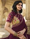 photo of Prachi Desai Wine Color Fancy Function Wear Art Silk Fabric Embroidered Saree