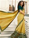 image of Eid Special Prachi Desai Embroidery Work On Art Silk Party Wear Saree In Yellow Color With Beautiful Blouse