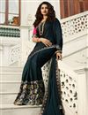 image of Eid Special Prachi Desai Embroidery Work On Art Silk Teal Color Function Wear Saree With Party Wear Blouse