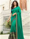 image of Eid Special Prachi Desai Embroidery Designs On Light Turquoise Color Art Silk Party Wear Saree With Designer Blouse