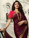 photo of Eid Special Prachi Desai Art Silk Embroidery Work On Burgundy Color Occasion Wear Saree With Enchanting Blouse