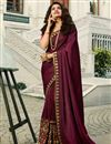 image of Eid Special Prachi Desai Art Silk Embroidery Work On Burgundy Color Occasion Wear Saree With Enchanting Blouse