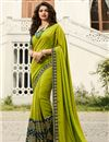 image of Eid Special Prachi Desai Embroidery Designs On Art Silk Occasion Wear Saree In Green Color With Enticing Blouse