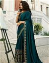 image of Eid Special Prachi Desai Teal Color Art Silk Party Wear Saree With Embroidery Work And Enigmatic Blouse