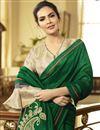 photo of Esha Gupta Dark Green Color Designer Saree In Georgette Silk Fabric