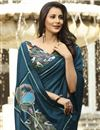 photo of Navy Blue Color Georgette Silk Fabric Occasion Wear Saree