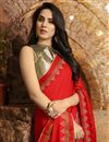 photo of Designer Red Color Occasion Wear Saree In Georgette Silk Fabric