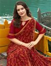 photo of Office Wear Fancy Georgette Fabric Printed Maroon Saree