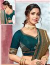 photo of Teal Color Fancy Border Work Saree In Art Silk Fabric