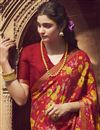 photo of Red Color Regular Wear Chiffon Fabric Fancy Printed Saree