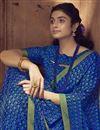 photo of Chiffon Fabric Regular Wear Fancy Blue Color Printed Saree