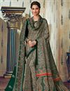 image of Fancy Dark Green Festive Wear Art Silk Printed Saree With Pashmina Silk Shawl