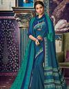 image of Sky Blue Fancy Art Silk Festive Wear Printed Saree With Pashmina Silk Shawl