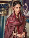 photo of Festive Wear Fancy Art Silk Printed Maroon Saree With Pashmina Silk Shawl