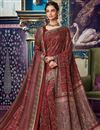 image of Festive Wear Fancy Art Silk Printed Maroon Saree With Pashmina Silk Shawl