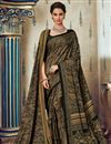image of Fancy Art Silk Festive Wear Printed Black Saree With Pashmina Silk Shawl
