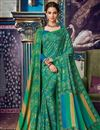 image of Festive Wear Green Fancy Printed Saree In Art Silk With Pashmina Silk Shawl