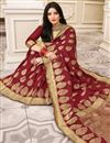 photo of Party Wear Maroon Color Art Silk Fabric Weaving Work Saree