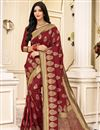 image of Party Wear Maroon Color Art Silk Fabric Weaving Work Saree
