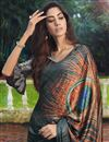photo of Satin Fabric Office Wear Grey Color Printed Saree