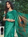 photo of Cyan Color Fancy Satin Fabric Printed Daily Wear Saree