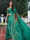 image of Cyan Color Fancy Satin Fabric Printed Daily Wear Saree