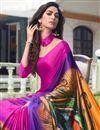 photo of Satin Fabric Rani Color Regular Wear Printed Saree