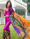 image of Satin Fabric Rani Color Regular Wear Printed Saree