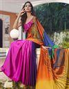 photo of Regular Wear Satin Fabric Printed Saree In Multi Color
