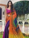 image of Regular Wear Satin Fabric Printed Saree In Multi Color