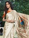 photo of Beige Color Satin Fabric Regular Wear Fancy Printed Saree