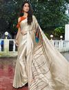 image of Beige Color Satin Fabric Regular Wear Fancy Printed Saree