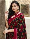 photo of Georgette Fabric Casual Wear Fancy Black Color Printed Saree
