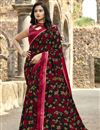 image of Georgette Fabric Casual Wear Fancy Black Color Printed Saree