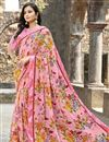 image of Office Wear Georgette Fabric Simple Printed Saree In Peach Color