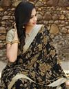 photo of Black Color Office Wear Fancy Georgette Fabric Printed Saree