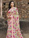 image of Georgette Fabric Fancy Regular Wear Beige Color Printed Saree