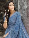 photo of Blue Color Regular Wear Georgette Fabric Simple Printed Saree